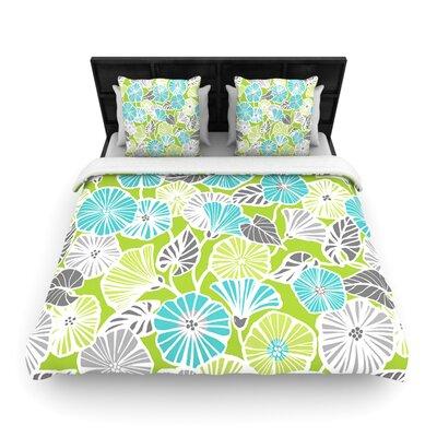 Jacqueline Milton Woven Comforter Duvet Cover Size: King, Color: Trumpet Vine Aqua Green