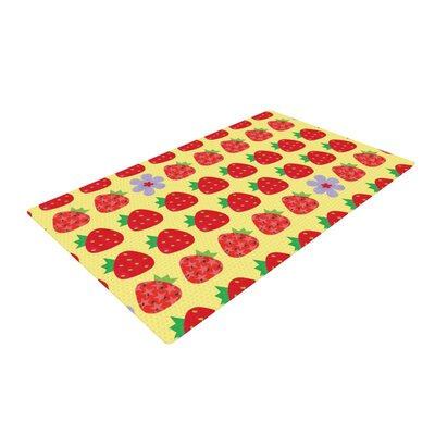 Jane Smith Seasons Summer Yellow/Red Area Rug Rug Size: 2 x 3