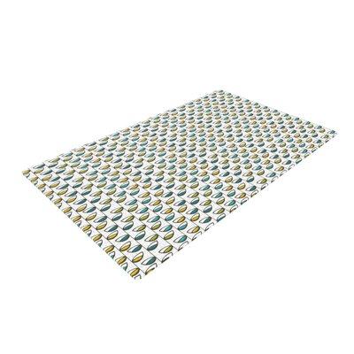 Julie Hamilton Spring Stem Yellow/Blue Area Rug Rug Size: 2 x 3