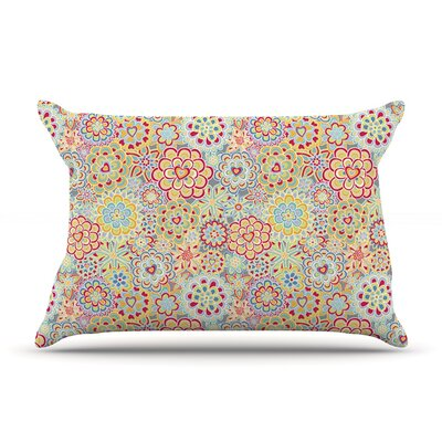 Julia Grifol My Happy Flowers In Red Pillow Case