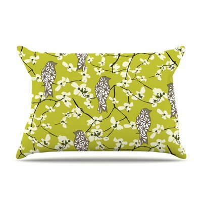 Blossom Bird by Julie Hamilton Featherweight Pillow Sham Size: King, Fabric: Woven Polyester