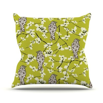 Blossom Bird Throw Pillow Size: 26 H x 26 W x 5 D