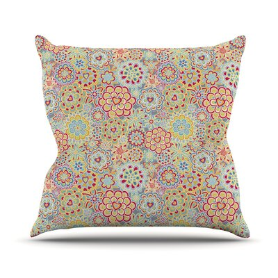 My Happy Flowers in Red Outdoor Throw Pillow Size: 16 H x 16 W x 3 D