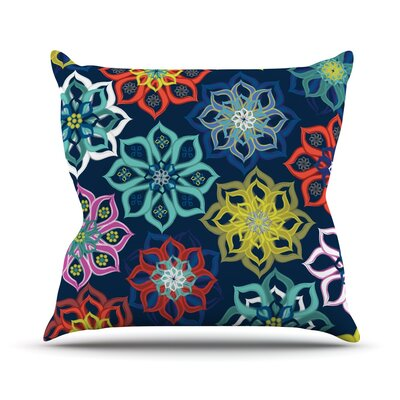 Multi Flower by Jolene Heckman Rainbow Flowers Throw Pillow Size: 16 H x 16 W x 3 D