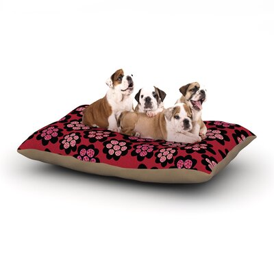 Jane Smith Garden Pods Repeat Floral Dog Pillow with Fleece Cozy Top Size: Large (50 W x 40 D x 8 H)
