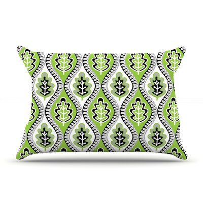 Jacqueline Milton Oak Leaf Floral Pillow Case Color: Lime/Green