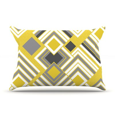 Jacqueline Milton Luca Pillow Case Color: Yellow/Gray