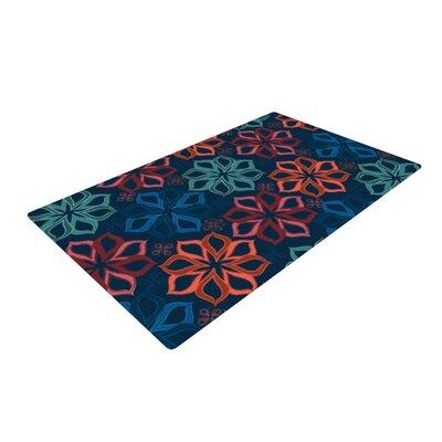 Jolene Heckman Floral Charm Flowers Blue Area Rug Rug Size: 2 x 3