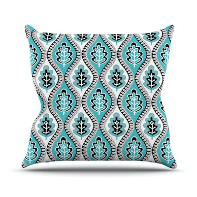 Oak Leaf by Jacqueline Milton Floral Throw Pillow Size: 18 H x 18 W x 3 D, Color: Turquoise