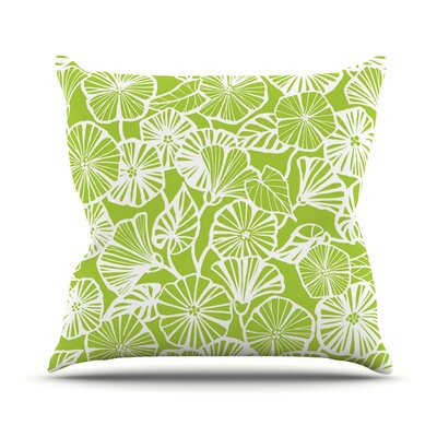 Vine Shadow by Jacqueline Milton Floral Throw Pillow Size: 18 H x 18 W x 3 D, Color: Lime