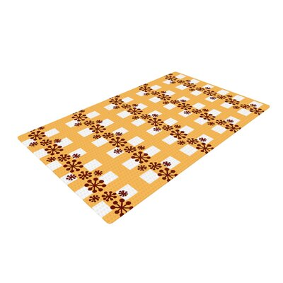 Jane Smith Mushroom Repeat Brown/Yellow Area Rug Rug Size: 4 x 6