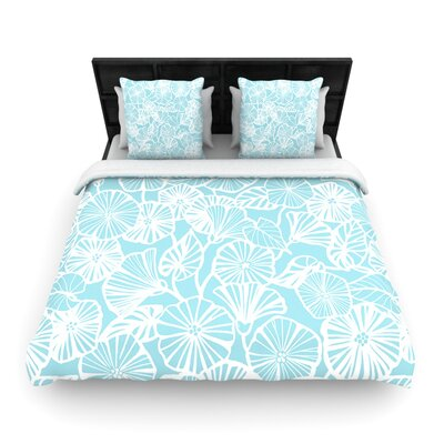 Jacqueline Milton Woven Comforter Duvet Cover Size: Full/Queen, Color: Vine Shadow Aqua Blue