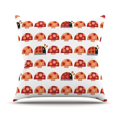Garden Ladybugs by Jane Smith Throw Pillow Size: 18 H x 18 W x 3 D