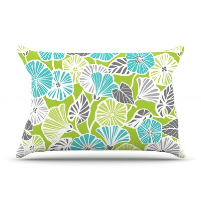 Jacqueline Milton Trumpet Vine Pillow Case Color: Aqua/Green