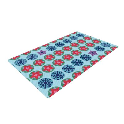 Jane Smith Seasons Winter Blue/Red Area Rug