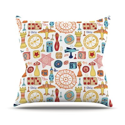 Vintage Games by Jane Smith Throw Pillow Size: 26 H x 26 W x 5 D