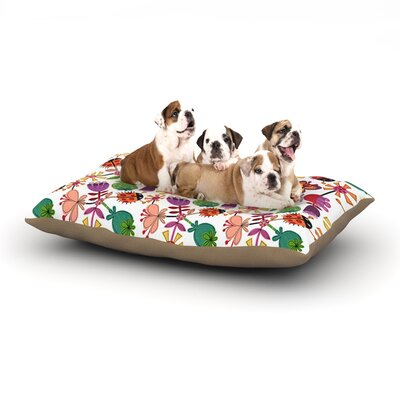 Jane Smith Garden Floral Plants Bugs Dog Pillow with Fleece Cozy Top Size: Small (40 W x 30 D x 8 H)