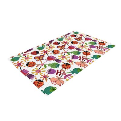 Jane Smith Garden Floral Plants Bugs White/Green/Purple Area Rug
