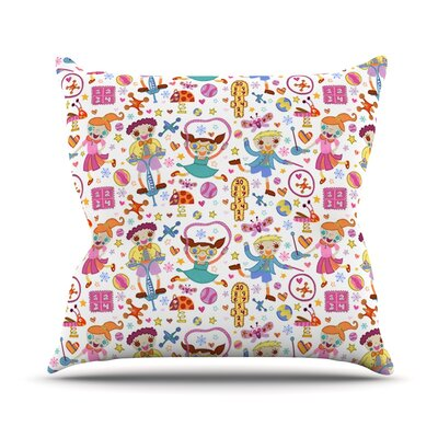 Vintage Playground IIII by Jane Smith Rainbow Throw Pillow Size: 26 H x 26 W x 5 D
