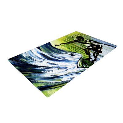 Josh Serafin Greenroom Surfer Green Area Rug Rug Size: 4 x 6