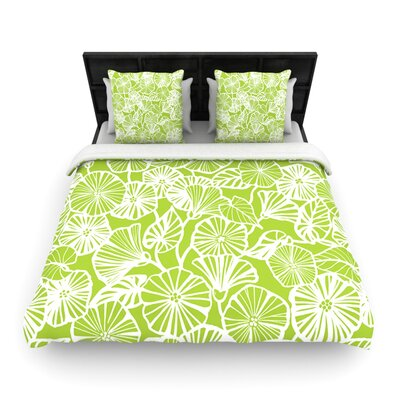 Jacqueline Milton Woven Comforter Duvet Cover Size: Twin, Color: Vine Shadow Lime Green