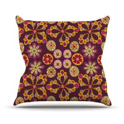 Indian Jewelry Floral by Jane Smith Throw Pillow Size: 26 H x 26 W x 5 D