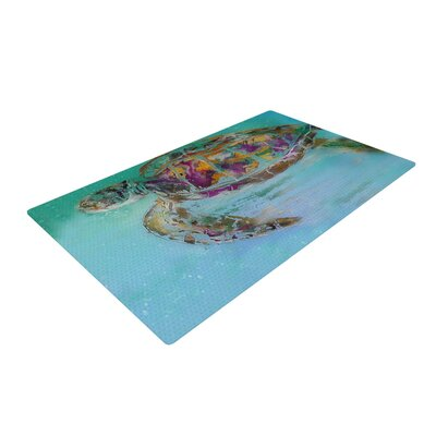 Josh Serafin Mommy Turtle Green/Brown Area Rug Rug Size: 2 x 3