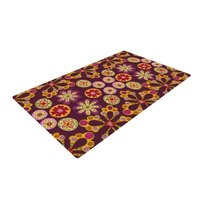 Jane Smith Indian Jewelry Floral Purple/Gold Area Rug Rug Size: 2 x 3