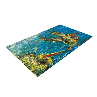 Josh Serafin Seabirds Blue/Yellow Area Rug Rug Size: 4 x 6