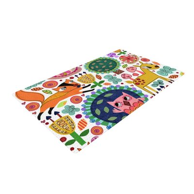 Jane Smith Woodland Critters Cartoon White/Green Area Rug Rug Size: 2 x 3