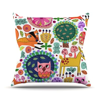 Woodland Critters by Jane Smith Colorful Cartoon Throw Pillow Size: 16 H x 16 W x 3 D