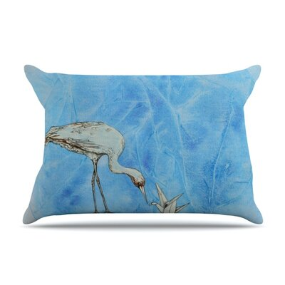 Crane by Kira Crees Featherweight Pillow Sham Size: King, Fabric: Woven Polyester