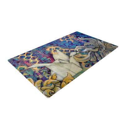 Kira Crees Peonies and Crane Blue/Green Area Rug Rug Size: 4 x 6