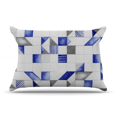 Kira Crees Winter Geometry White Blue Featherweight Sham Size: King, Fabric: Woven Polyester