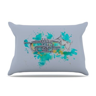 Hunting For Jazz Blue by Kira Crees Featherweight Pillow Sham Size: King, Fabric: Woven Polyester