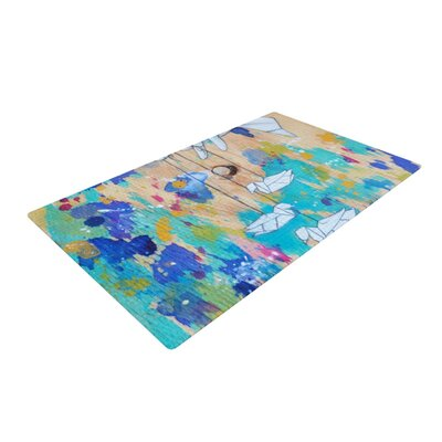 Kira Crees Origami Strings Blue/Purple Area Rug Rug Size: 2 x 3