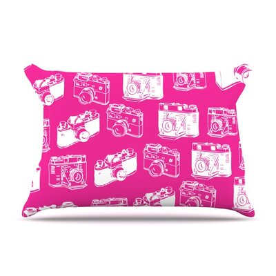 Camera Pattern Featherweight Pillow Sham Size: Queen, Color: Pink, Fabric: Woven Polyester