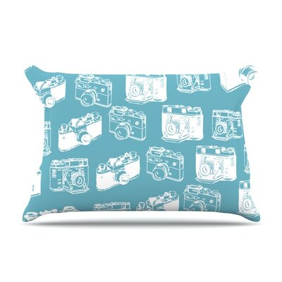 Camera Pattern Pillowcase Size: King, Color: Blue