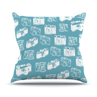 Camera Pattern Throw Pillow Size: 20 H x 20 W 4.5 D, Color: Blue