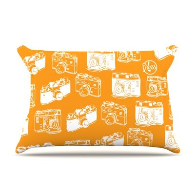 Camera Pattern Featherweight Pillow Sham Size: King, Color: Orange, Fabric: Woven Polyester