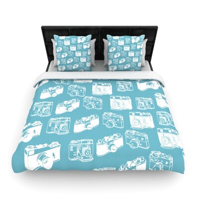 Camera Pattern Woven Comforter Duvet Cover Color: Blue, Size: King