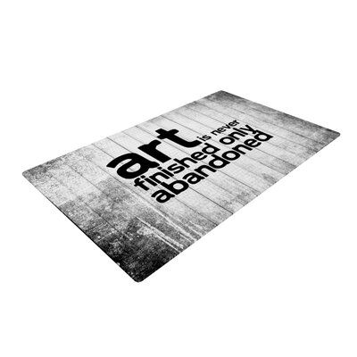 Art Never Finished Black/White Area Rug Rug Size: Rectangle 4' x 6'