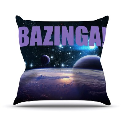 Bazinga Throw Pillow Color: Purple, Size: 18 H x 18 W x 3 D