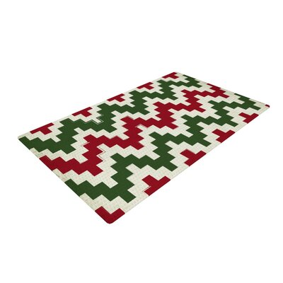 Christmas Gram Chevron Red/White/Green Area Rug