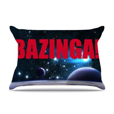Bazinga Purple Space Pillow Case Color: Red