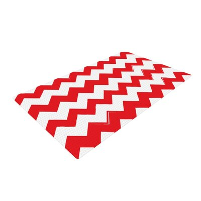 Candy Cane Chevron Red Area Rug