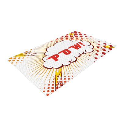 Pow! Cartoon Red/White Area Rug Rug Size: 4 x 6