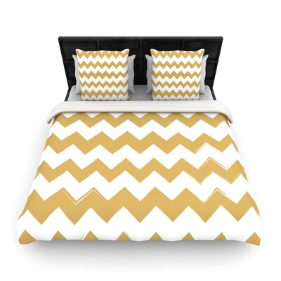Candy Cane Chevron Woven Comforter Duvet Cover Color: Gold, Size: Full/Queen