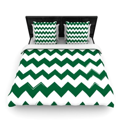 Candy Cane Chevron Woven Comforter Duvet Cover Size: Full/Queen, Color: Green