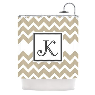 Monogram Chevron Shower Curtain Color: Tan